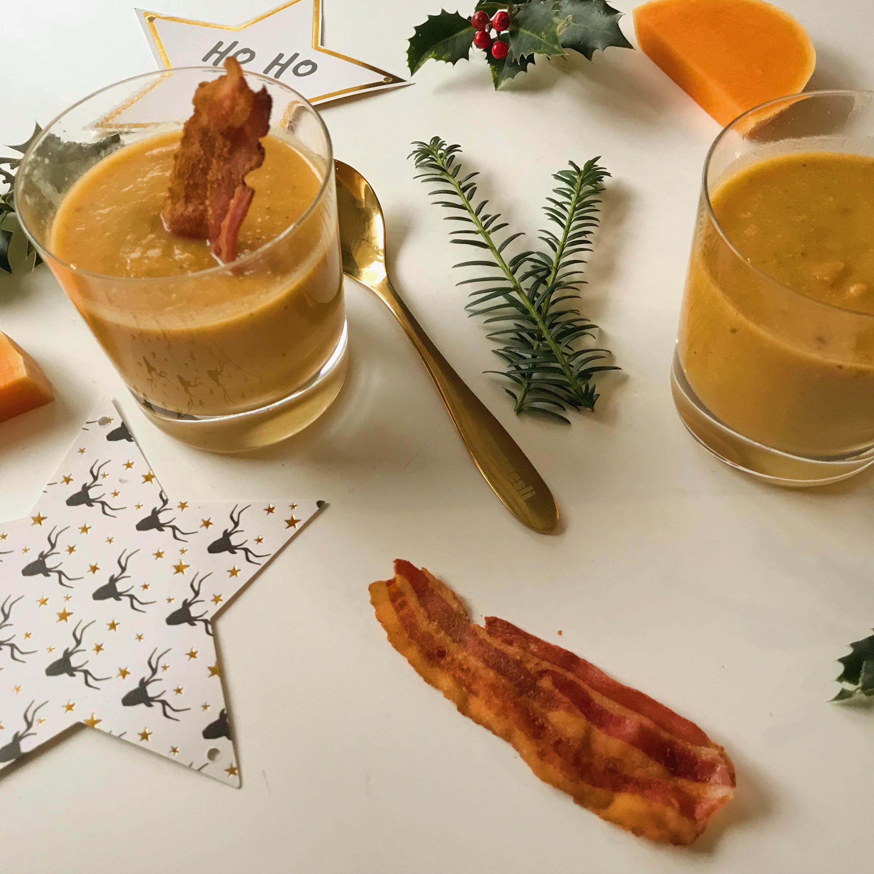 Kerst amuse: Pompoen soep in glaasjes