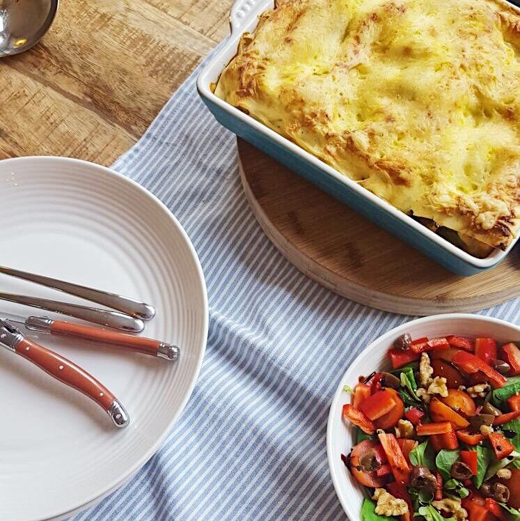 Vegetarische Lasagne met paddestoelen en prei