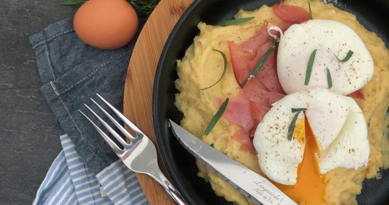 Pastinaak puree met ham en gepocheerd ei