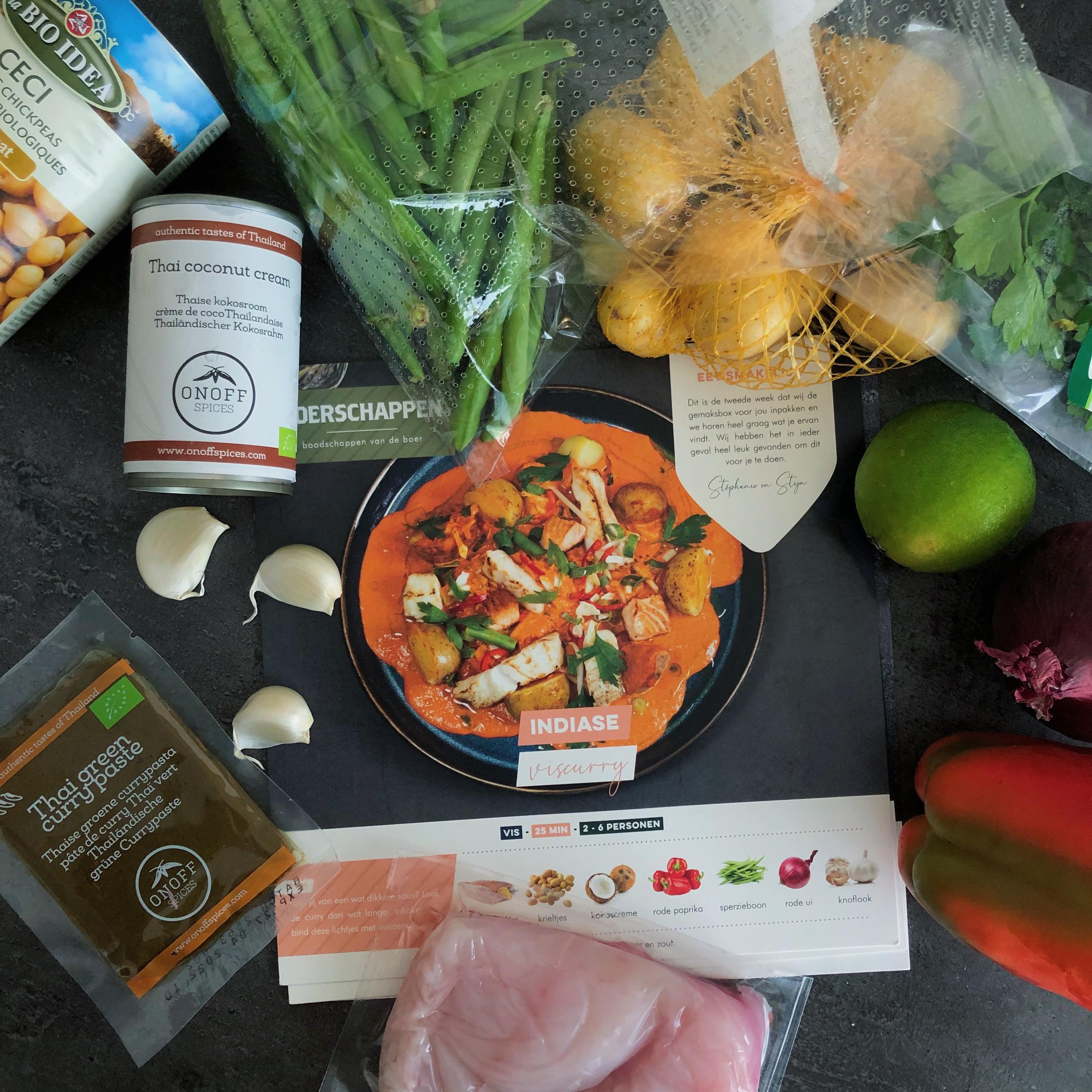 Roodbaarsfilet curry met krieltjes en sperziebonen